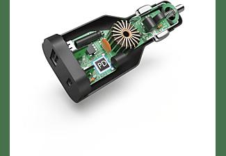 Cargador USB para coche -  Hama 00200010, Universal USB C, 2 entradas, Negro