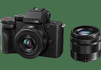 PANASONIC DC-G110WEG-K Kit Systemkamera mit Objektiv 12-32 mm, 35-100 mm, 7,5 cm Display Touchscreen