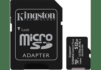 KINGSTON 512GB Speicherkarte Canvas Select Plus microSDXC Kit, R100/W85 MB/s, UHS-I, U3, V30, Schwarz