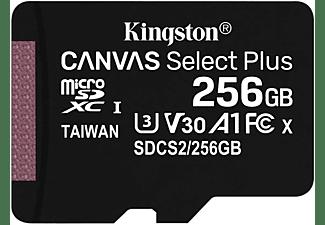 KINGSTON 256GB Speicherkarte Canvas Select Plus microSDXC Kit, R100/W85 MB/s, UHS-I, U3, V30, Schwarz