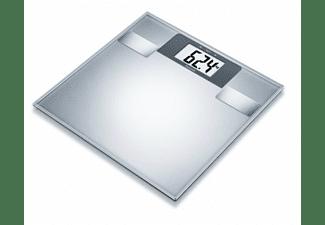 Báscula de baño - Beurer SR-BF2, Peso máximo 180kg, Análisis corporal, Pantalla LCD, 10 memorias, Inox