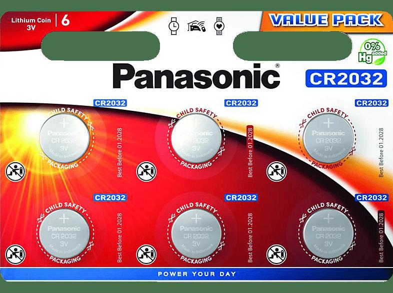 6x Panasonic CR 2032 Lithium 6er Blister 3V Uhren Knopfzelle Batterien MHD:2029