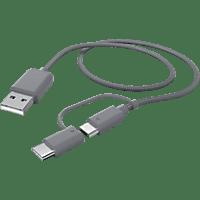 HAMA 2in1 USB-A auf Micro-USB/USB Typ-C, Kabel, 1 m, Grau