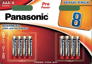 PANASONIC 00265949 LR03PPG/8BW AAA Micro Batterie, Alkaline, 1.5 Volt 8 Stück