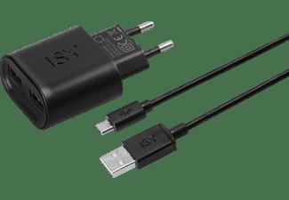 ISY IWC-5200-1 2 Port USB Reiselader & Micro-USB Datenkabel Universal, Schwarz