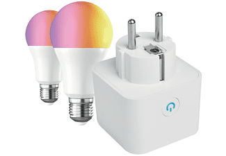 Enchufe inteligente - Muvit MioPak005, Pack Smart Enchufe WiFi + 2 Bombillas E27, Asistente Google, Alexa
