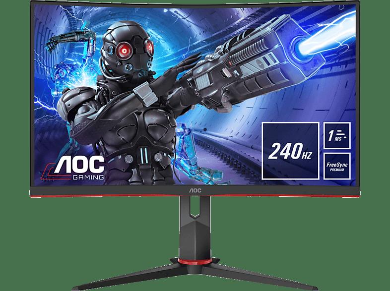 AOC C32G2ZE 32 Zoll Full-HD Gaming Monitor mit Low-Input Lag, G-menu, 6 Games mode, 240 Hz, 1 ms und AMD FreeSync Premium 1 Reaktionszeit, Hz