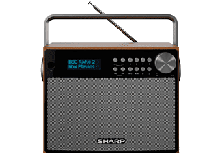 Radio digital - Sharp DR-P350, DAB/DAB+/FM, Alarma, Función dormir, Madera