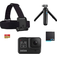 GOPRO HERO8 Black Holiday Bundle Action Cam 4k (60fps), 2.7k 120(fps), 1440p (120), 1080p (240fps) und mehr/Videoschleife/8x Slo-Mo, WLAN, Touchscreen