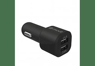 Cargador USB para coche - Muvit MCDCC0007, 2 USB, Universal, Negro
