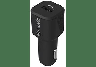 Cargador USB para coche - Muvit MCPAK0015, USB-A, USB-C, Universal, 12W, 2.4A, Negro