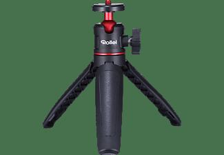ROLLEI Comfort Desktop-Mini Stativ mit Kugelkopf Mini Stativ mit Teleskopstange Mini Stativ, Schwarz, Höhe offen bis 252