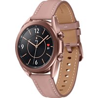 SAMSUNG Galaxy Watch 3 41 mm Bluetooth Smartwatch Edelstahl Echtleder, Größe S/M (130-190 mm), Mystic Bronze/Pink