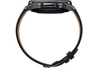 SAMSUNG Galaxy Watch 3 45 mm Bluetooth Smartwatch Edelstahl Echtleder, Größe M/L (145 - 205 mm), Mystic Black/Black