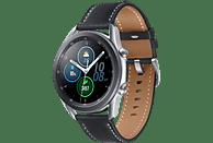 SAMSUNG Galaxy Watch 3 45 mm Bluetooth Smartwatch Edelstahl Echtleder, Größe M/L (145 - 205 mm), Mystic Silver/Black