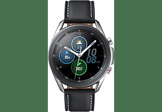 SAMSUNG Galaxy Watch 3 45 mm LTE & Bluetooth Smartwatch Edelstahl Echtleder, Größe M/L (145 - 205 mm), Mystic Silver/Black