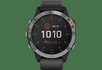 GARMIN Fenix 6 Solar Smartwatch Faserverstärktes Polymer mit Metallgehäuse hinten Silikon, 125-208mm Handegelenkumfang, Schwarz