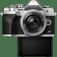 OLYMPUS Systemkamera OM-D E-M10 Mark IV Silber mit M.Zuiko Digital ED 14-42mm f3.5-5.6 EZ Pancake