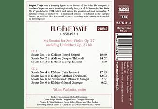Niklas Walentin - Sonaten für Violine solo op.27 Nr.1-6  - (CD)
