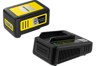 KÄRCHER Kit de démarrage Battery Power 18/50 - Batterie interchangeable et chargeur rapide (Noir/Jaune)