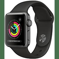 Apple Watch Series 3 GPS, 38 mm, Caja de aluminio gris espacial y correa deportiva negro