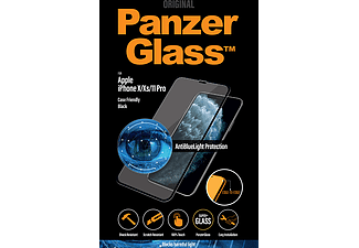 PANZERGLASS Black Case Friendly met Antiblauwlicht voor iPhone X/Xs/11 Pro