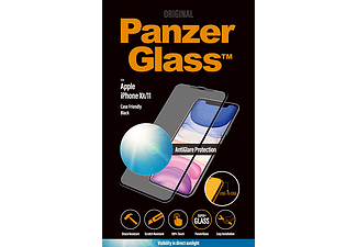 PANZERGLASS Black Case Friendly met Anti-Glare voor iPhone Xr/11