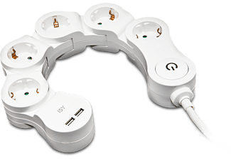 ISY IPS-5000-W Schwenkbare Steckdosenleiste 5 AC + 2 USB