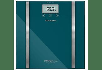 Báscula de baño - Taurus SYNCRO GLASS COMPLET Peso máximo 150Kg, Precisión de 100gr, 12
