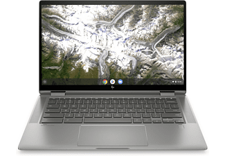 HP Chromebook x360 14c-ca0305ng, Chromebook mit 14 Zoll Display Touchscreen, Pentium® Gold Prozessor, 4 GB RAM, 64 GB eMMC, Intel® UHD Grafik, Silber