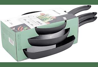 Set de sartenes - Amercook Onix ONI03ST, 2 Sartenes 20 y 24cm Grill 26cm, Todo tipo de fuegos, Aluminio, Negro