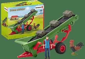 SCHLEICH Heuförderband mit Bauer Spielfiguren Mehrfarbig