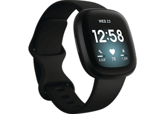 FITBIT Versa 3 Smartwatch Aluminium Silikon, S, L, Black/Black