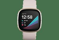 FITBIT Sense Smartwatch Stainless Steel Silikon, S, L, Lunar White/Soft Gold