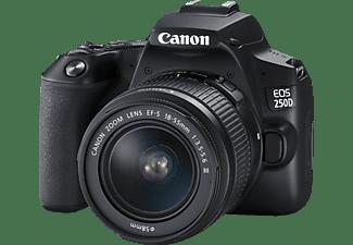 CANON EOS 250D Kit + Tasche SB130 und Speicherkarte SD 16 GB Spiegelreflexkamera, 4K, Full HD, HD, 18-55 mm Objektiv, Touchscreen Display, WLAN, Schwarz