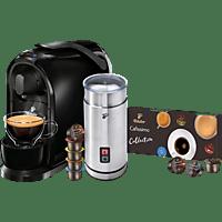 TCHIBO CAFISSIMO Pure + Milchaufschäumer + 8 Kapseln Kapselmaschine Schwarz