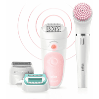 Depiladora - Braun, Silk-épil Beauty Set 5 5-875, 4 en 1, Inalámbrica, Wet&Dry, 2 Ajustes de velocidad, Blanco