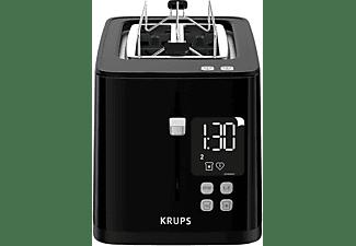 Schwarz Zwei-Scheiben-Toaster herausnehmbare Kr/ümelschublade Countdown Digitaldisplay 7 Br/äunungsstufen Krups KH6418 Smartn Light Toaster Anhebevorrichtung