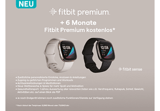 FITBIT Sense Smartwatch Stainless Steel Silikon, S, L, Carbon/Graphit