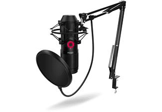 Micrófono - Krom Kapsule, USB, Jack 3.5mm, Filtro antipop, Antishock, Articulable, Negro
