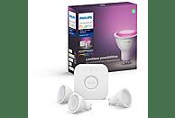 Kit 3 bombillas Bluetooth - Philips Hue LED GU10 y puente, Luz blanca y color, Domótica