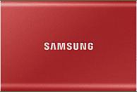 Disco duro SSD 1 TB - Samsung MU-PC1T0R, Externo, USB Tipo C, SSD, Rojo