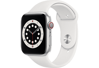 APPLE Watch Series 6 GPS + Cellular eSIM 44mm Aluminiumboett i Silver - Sportband i Vitt