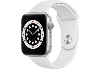 APPLE Watch Series 6 - Aluminium kast Zilver 44mm, Sportbandje Wit (M00D3NF/A)