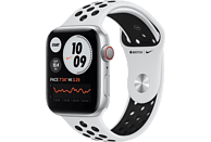 APPLE Watch Nike Series 6 GPS + Cell, 44mm Aluminiumgehäuse Silber, Nike Sportband, Pure Platinum/Schwarz