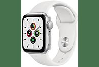 Apple Watch SE, GPS , 40 mm, Caja de aluminio en plata, Correa deportiva blanca