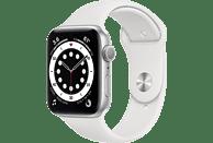 APPLE Watch Series 6 GPS, 44mm Aluminiumgehäuse  Silber, Sportarmband, Weiß