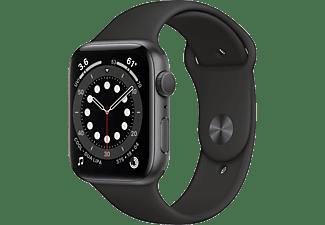 APPLE Watch Series 6 GPS, 44mm Aluminiumgehäuse Spacegrau, Sportarmband, Schwarz