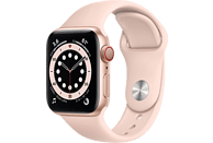 APPLE Watch Series 6 GPS + Cell, 40mm Aluminiumgehäuse Gold, Sportarmband, Sandrosa