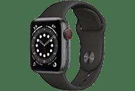 APPLE Watch Series 6 GPS + Cell, 40mm Aluminiumgehäuse Spacegrau, Sportarmband, Schwarz